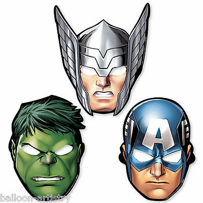 8 Marvel's AVENGERS HEROES Children's Party Paper Face Masks