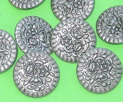 """PRECIOUS Set 12 FLOWER PICTURE Vintage New  PEWTER Buttons 3/4"""""""