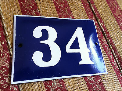 ANTIQUE VINTAGE FRENCH ENAMEL SIGN HOUSE NUMBER 34 DOOR GATE SIGN 1950's