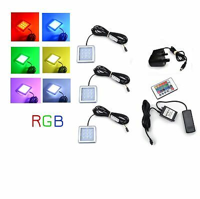 RGB LED Color Changeable Under Cabinet Shelf Down Light Square Kit/Set