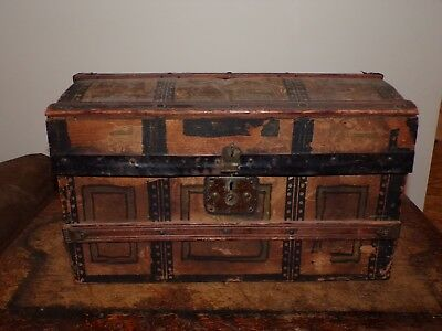 Antique Small Steamer Trunk / Chest w Contents Doll