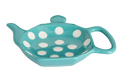 Dexam Polka Dot Ceramic Teabag Holder Blue Tea Bag Tidy Coaster Rest Stoneware