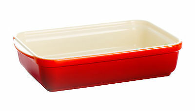 Dexam  Chilli Red Rectangle Oven Serving Dish 25x17cm Roaster Lasagne Stoneware