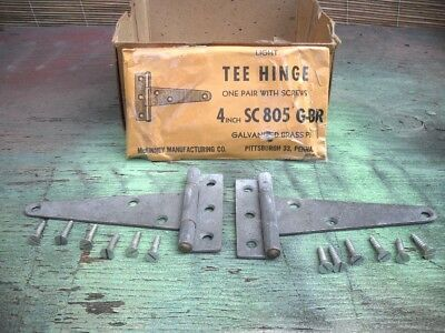 Vtg NOS Light T-STRAP STEEL Gate HINGES Brass Pin Galvanized Finish FLUSH Mount