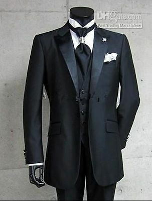 Black Men's Wedding Suit Groom Bridal Suits Best Man Tuxedos Formal Blazers
