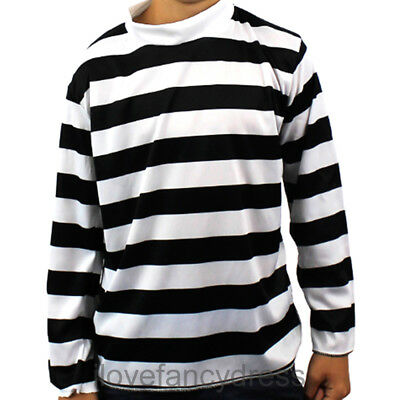 Child Black White Long Sleeve Striped Top Fancy Dress Costume French Burglar ea9ba5084