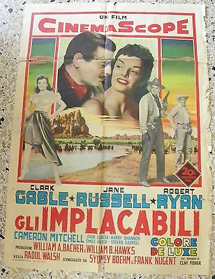 Manifesto Gli Implacabili Clark Gable Jane Russell Robert Ryan Walsh Raro V4 2F