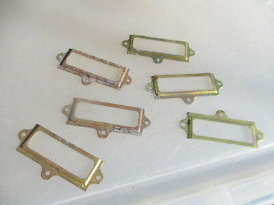 Old Brass Drawer Index Card Holder Display Frame x6 Antique - Vintage Style