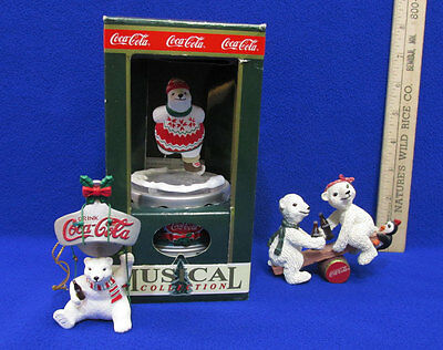 Coca Cola Coke Musical Polar Bear 1993 Holiday Figurines & Ornament Lot of 3