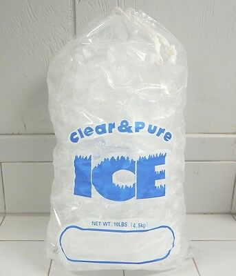 Clear & Pure Ice 10 Lb Drawstring Ice Bags *100 Count* Free Shipping