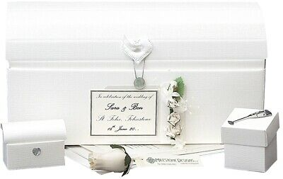 PERSONALISED Wedding Keepsake CHEST Linen/Silver 4 Motifs/20 Colours + Extras