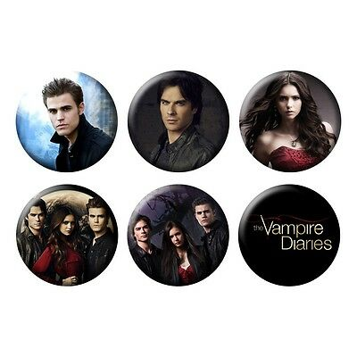 Vampire Diaries The CW Elena Gilbert Stefan Damon Salvatore 6 Buttons/Magnets