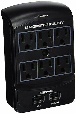 Monster - Core Power 650 USB 6-Outlet Surge Protector - Black