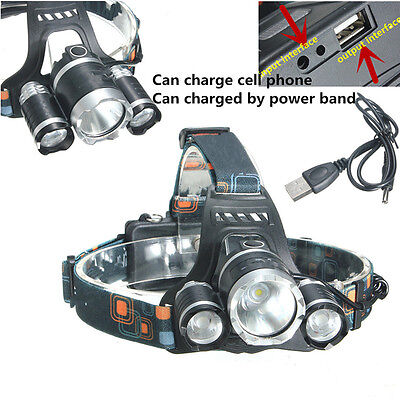 15000Lm 3x T6 LED Headlamp Headlight torcia FRONTALE lampada + USB Cable cavo