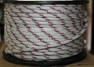 6mm x 200m Polyester Double Braid YACHT Rope Red/Black Reel ***NEW**STRONG
