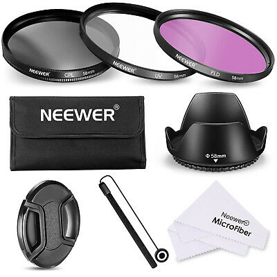 NEEWER 58mm UV+CPL+FLD Filter Kit Set for CANON EOS Rebel