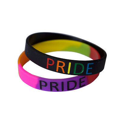 Pride Rainbow wristband silicone bracelet bangle gift AWARENESS