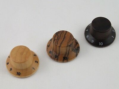 MAPLE, ROSEWOOD, ZEBRA WOODEN Guitar KNOBS for Stratocaster + Numbering 1-10