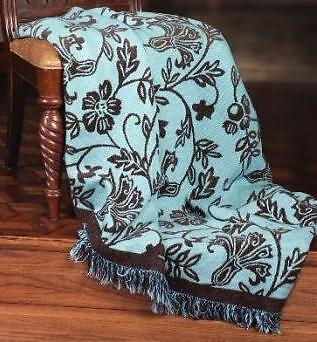 The Chocolate Blues North American Made Paisley Woven Tapestry Throw Blanket