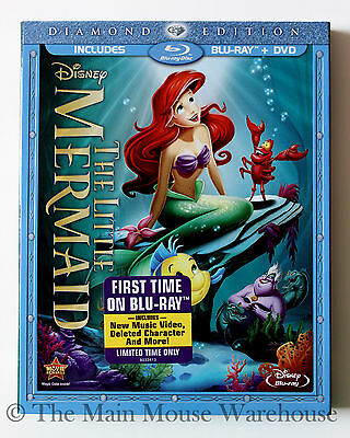 Disney Animated Masterpiece Little Mermaid Blu-ray DVD with Reflective Slipcover