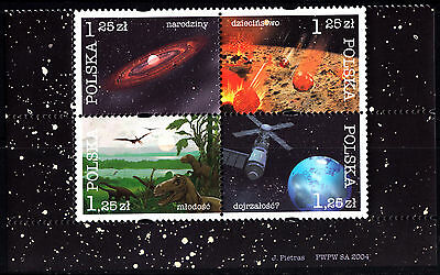 Poland 2004 Cosmic history of the Earth, block of 4 stamps, MNH