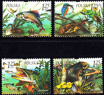 Poland 2004 Fauna and flora of fresh-water, Complete Set of Stamps, MNH