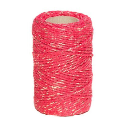 FESTIVE CHRISTMAS BAKERS TWINE SPARKLE RED / GOLD 2mm 2 PLY - STRING CORD WRAP