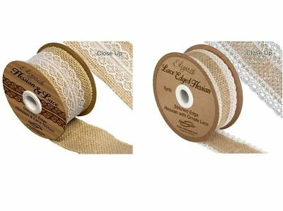 Eleganza Hessian & Lace Stitched Edge Traditional Ribbon Two Colours