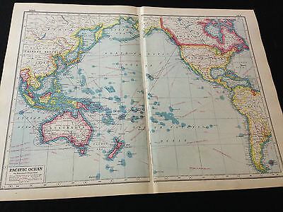 """Harmsworth New Atlas Of The World """"Pacific Ocean"""""""