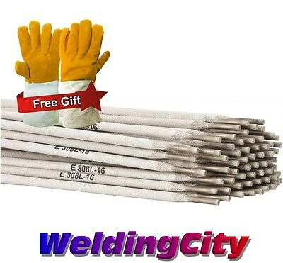 """5-Lb E308L-16 1/8"""" Stainless Steel Stick Welding Electrode Rod with Free Gloves"""