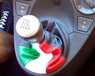 FIAT PANDA 100 HP SHIFT BOOT suitable BLACK LEATHER TRICOLOR RED STITCHING