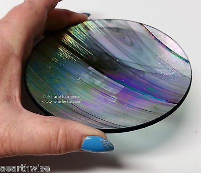 1 x BLACK RAINBOW GLASS PLATE - CANDLES ALTAR  Wicca Pagan Witch Goth