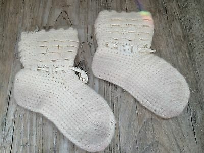 Vintage Hand Crocheted Baby Booties White Knit Socks