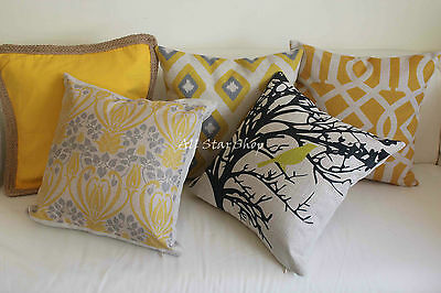 Art Vintage Yellow Geometry Home Decor Cotton CUSHION COVER PILLOW CASE 18""