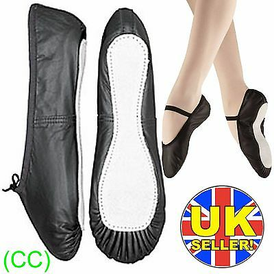 Black Leather Ballet Dance Shoes full suede sole with elastics irish jig pumps