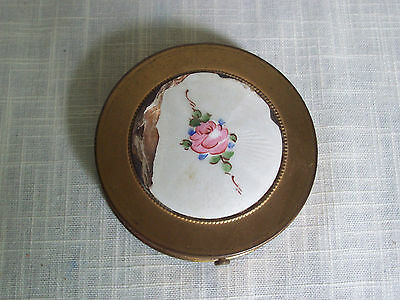 Vintage Brass Pink Floral Makeup Powder Compact