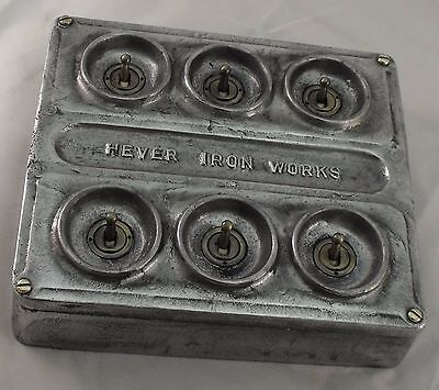 NEW Cast Metal Vintage Industrial 6 Gang Light Switch - BS EN Approved