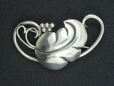 """Antique Victorian  Sterling Leaf Shaped  Pin Brooch ~ 2.25"""""""