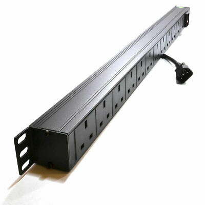 Power Distribution Unit 12 Way UK 19 Vertical Rack Mount PDU C14 Plug [007767]