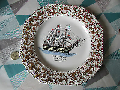 Ornate  HMS  Victory  Lord Nelson Pottery England  Plate circa 1968