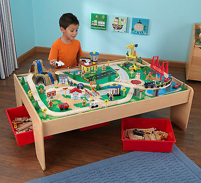 NEW KidKraft Wooden Waterfall Mountain Train Set and Table 17850