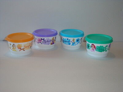Tupperware Disney Princess Snack Cups Set Liquid Tight Pastel Seals New