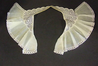 Antique Lace Pleated Chiffon Jabot Collar