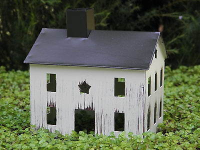 "Rustic White Tin HOUSE w/ Star Miniature FAIRY GARDEN 5"" X 4"" PRIMITIVE DECOR"