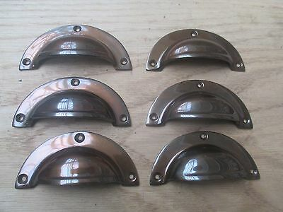 6 x ANTIQUE BURNISHED RETRO VINTAGE CUPPED SHELL CUPBOARD DRAWER PULL HANDLE