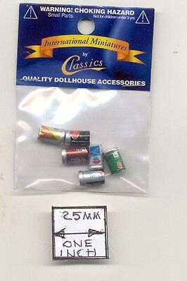 Soda Pop Coke Cans dollhouse metal miniature 1/12 scale IM65512 6pcs