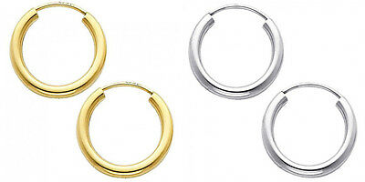 14k Yellow White Gold 2mm Thick High Polish Endless Hoop Earrings 15mm Diam Smal