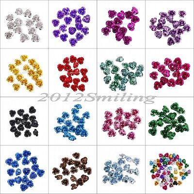 100pcs Rose Flower Aluminum Jewelry Making Spacer Beads 6mm For Jewelry DIY NEW