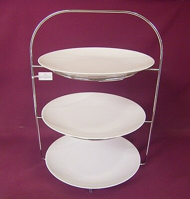 THOMAS ROSENTHAL MEDAILLON WHITE TEA ROOM STYLE 3 TIER CAKE STAND (medallion)