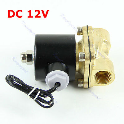 "Brass 12V DC 1/2"" Electric Solenoid Valve Water Air Fuels Gas Normal Closed Hot"